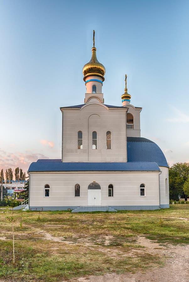 Tradycyjny ortodoksyjny kościół w Frunze, mała wioska w Crimea zdjęcie royalty free