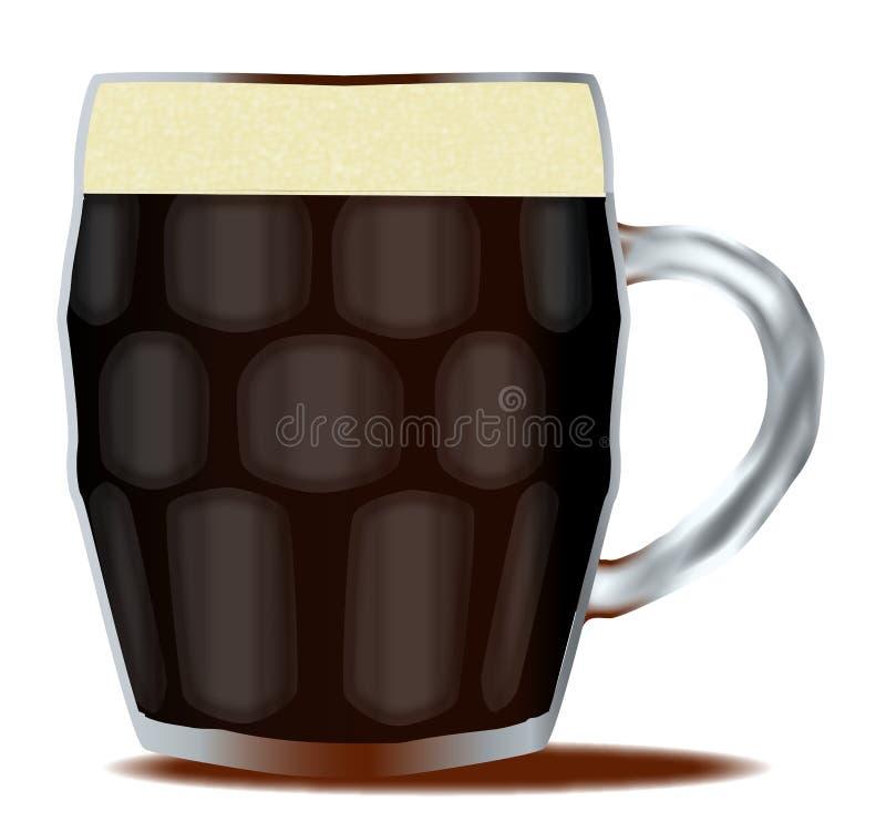 Tradycyjny pół kwarty Łagodny piwo Nad Białym tłem royalty ilustracja
