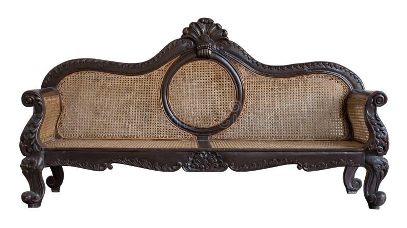 Tradycyjny Rattan krzesło, Rattan kanapy meble wyplata bambusowego krzesła zdjęcia royalty free