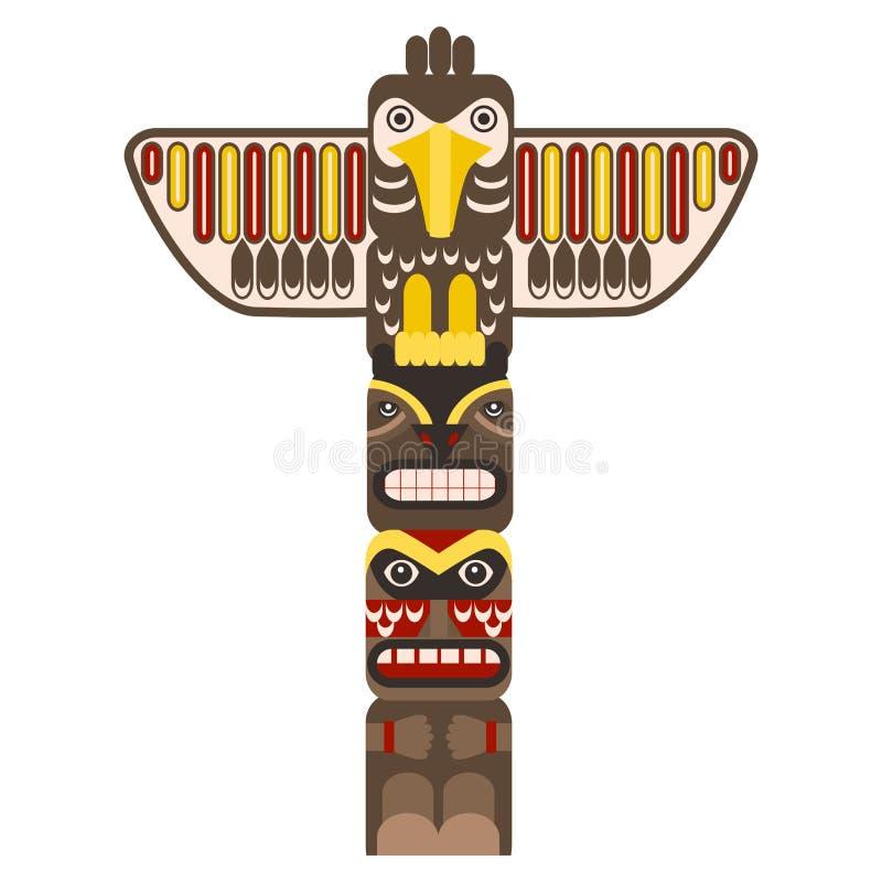 Tradycyjny Religijny totemu słup z zwierzęciem wektor ilustracji