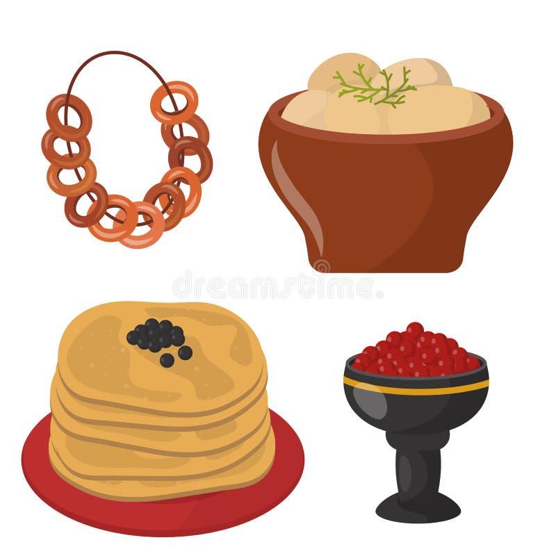 Tradycyjny Rosyjski kuchni kultury naczynia jedzenia kursowy powitanie Rosja posiłku wektoru wyśmienita krajowa ilustracja royalty ilustracja
