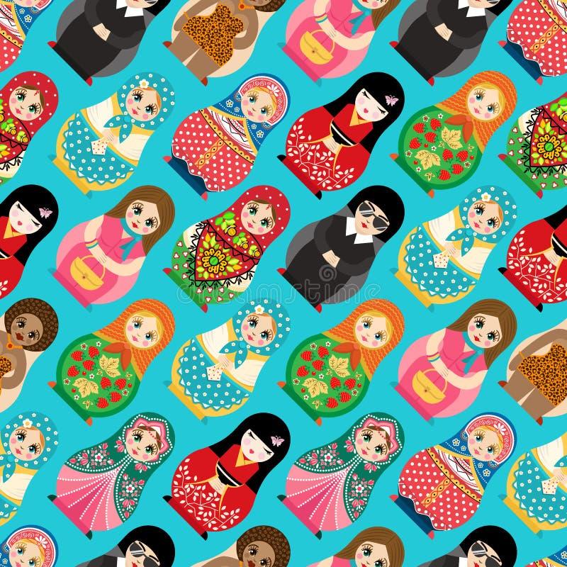 Tradycyjny Rosyjski lali Matryoshka zabawkarski gniazdować wektorowa ilustracja z ludzkiej dziewczyny ślicznej twarzy bezszwowym  royalty ilustracja