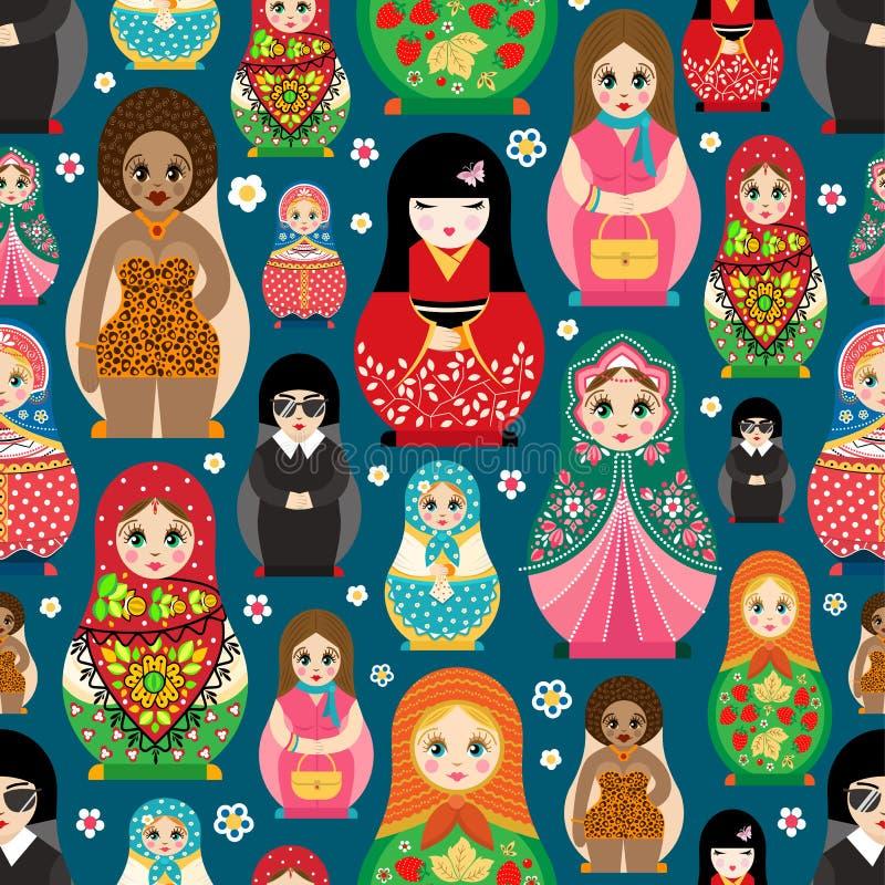 Tradycyjny Rosyjski lali Matryoshka zabawkarski gniazdować wektorowa ilustracja z ludzkiej dziewczyny ślicznej twarzy bezszwowym  ilustracja wektor