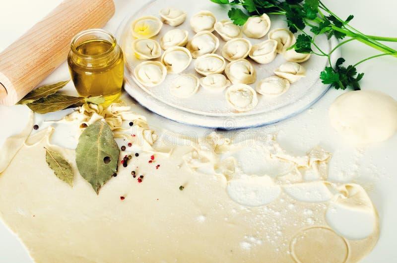 Tradycyjny rosyjski pelmeni, pierożek, kluchy z mięsem na bielu betonuje tło Pietruszka, przepiórek jajka, pieprz zdjęcia royalty free