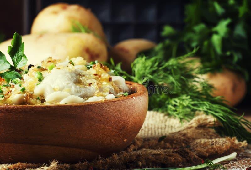Tradycyjny Rosyjski vareniki z grulami i smażyć cebulami w b zdjęcie stock