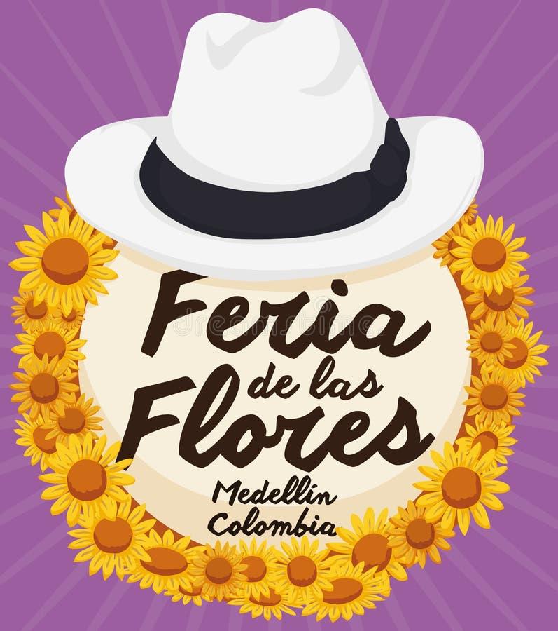 Tradycyjny Słomiany Arriero kapelusz z stokrotkami dla Kolumbijskiego kwiatu festiwalu, Wektorowa ilustracja ilustracja wektor