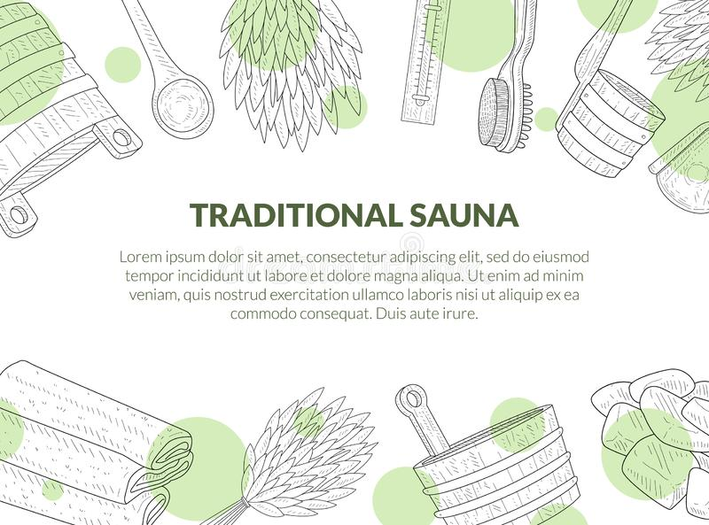 Tradycyjny Sauna plakat, sztandar z miejscem dla teksta i ręki Rysujący Kąpielowi akcesoria, brzozy miotła, wiadro, ręcznik, muśn ilustracji