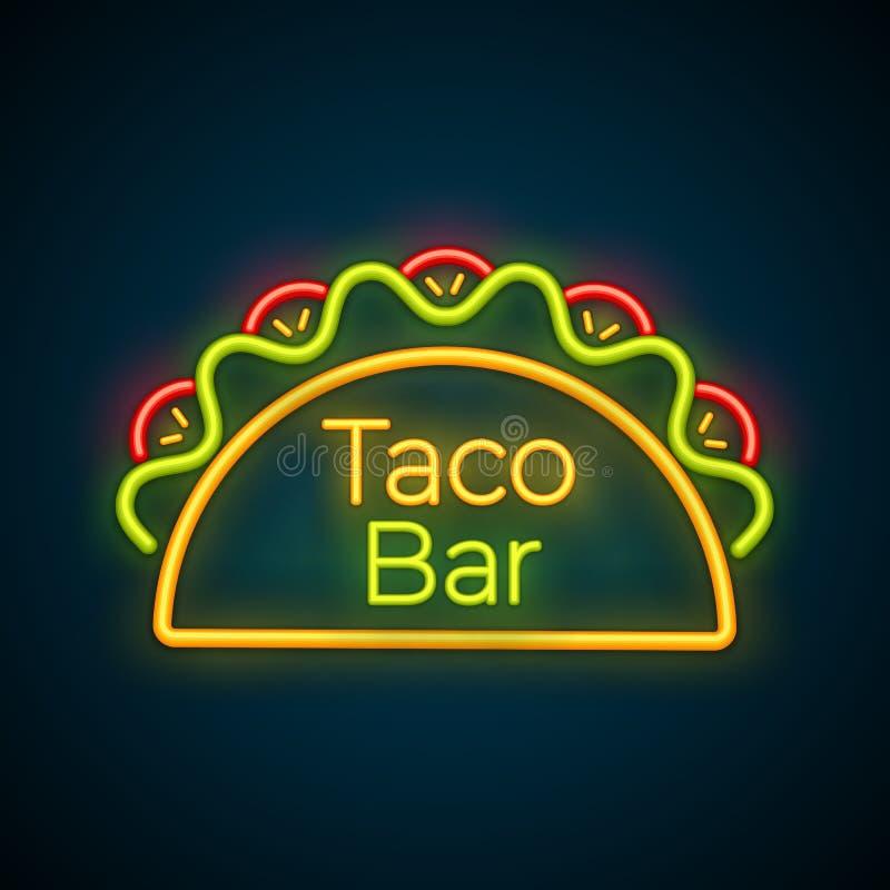 Tradycyjny tacos posiłku neonowego światła taco baru znak ilustracji