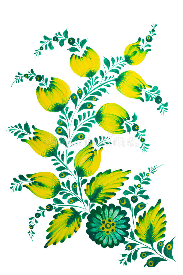 Tradycyjny Ukraiński ludowy obraz w Petrykivka stylu Ręka rysująca Petrikovka ilustracja Guaszu obraz ilustracji