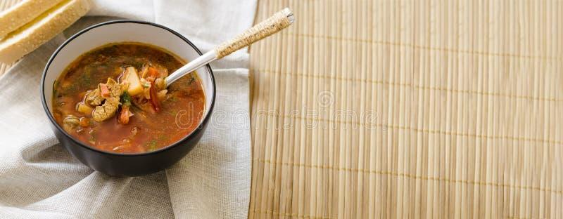 Tradycyjny Ukrai?ski Rosyjski jarzynowej polewki borscht z ci??k? ?mietank?, pietruszki żyta chlebowe rolki zdjęcie stock