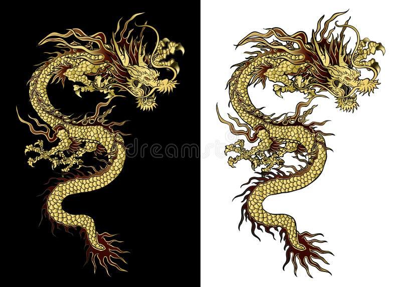 Tradycyjny złoty Chiński smok royalty ilustracja