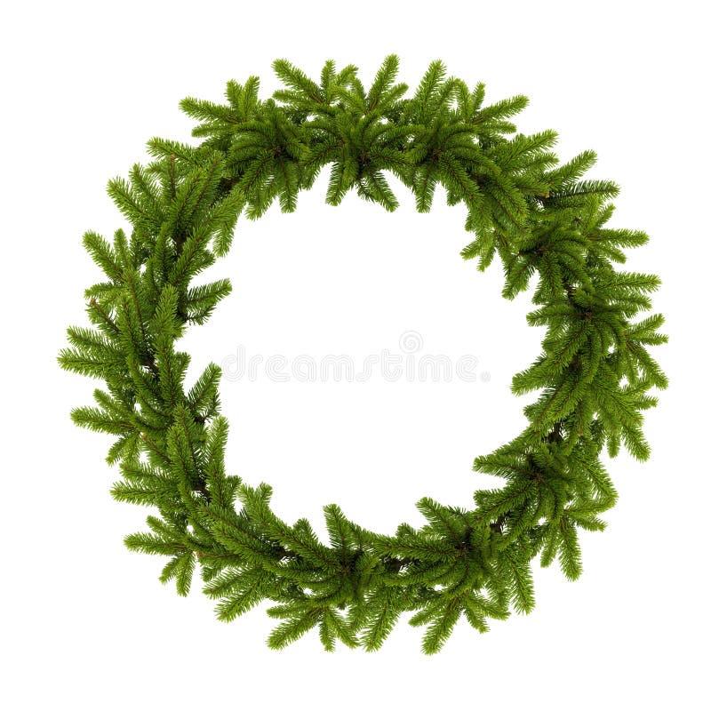 Tradycyjny zielony boże narodzenie wianek odizolowywający na białym tle zdjęcia stock