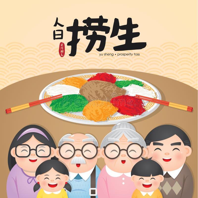 Tradycyjnych Chińskie naczyń Lou Śpiewał «, «Yu Shang « Zazwyczaj jako zakąska należna swój symbolizm «szczęście «dla nowego roku ilustracja wektor