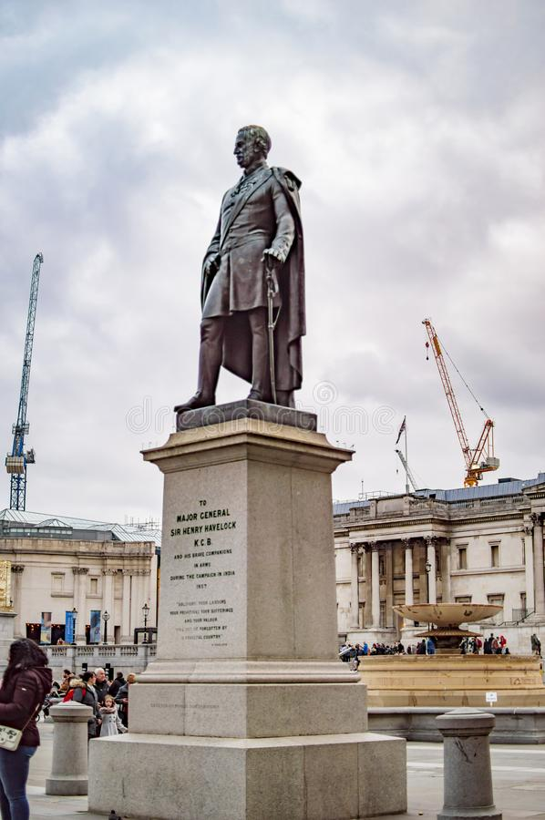 Trafalgar kwadrat London ma statu? sir henry havelock zdjęcia royalty free