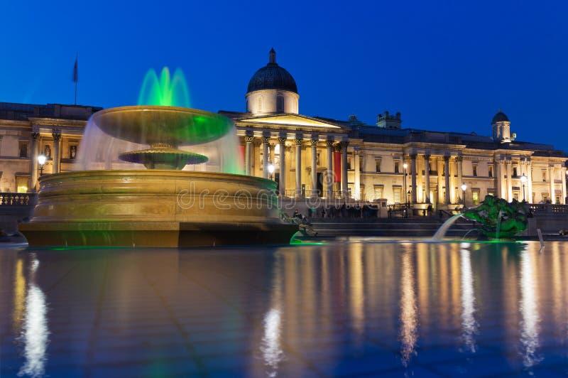 Trafalgar kwadrat i national gallery, Londyn obraz stock
