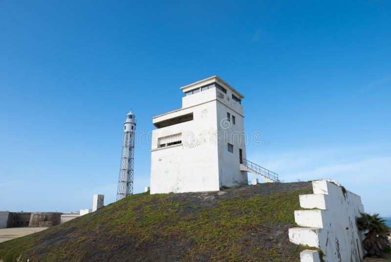Trafalgar-` s Leuchtturm in Cadiz stockbild