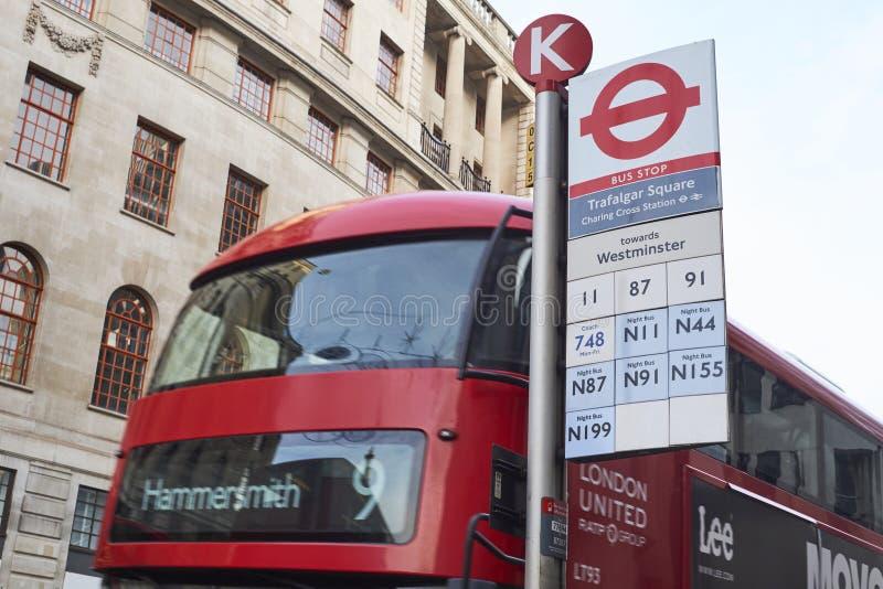 Trafalgar Square bus stop royalty free stock image