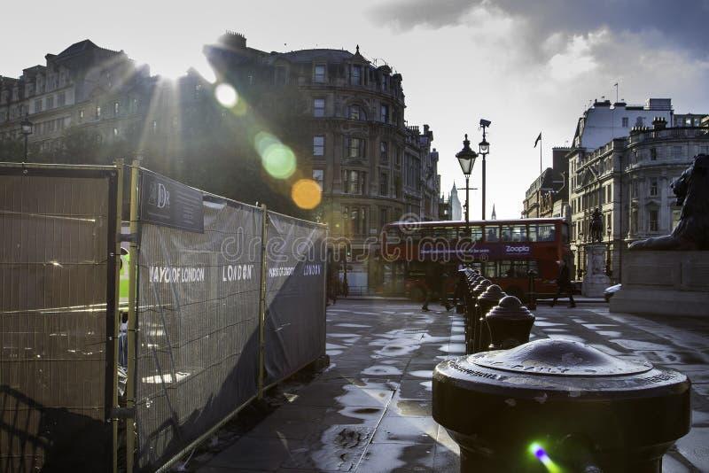 Trafalgar Square en Londres, Inglaterra, Reino Unido fotografía de archivo