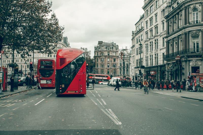 Trafalgar Square London, Cockspur Street People stock photo