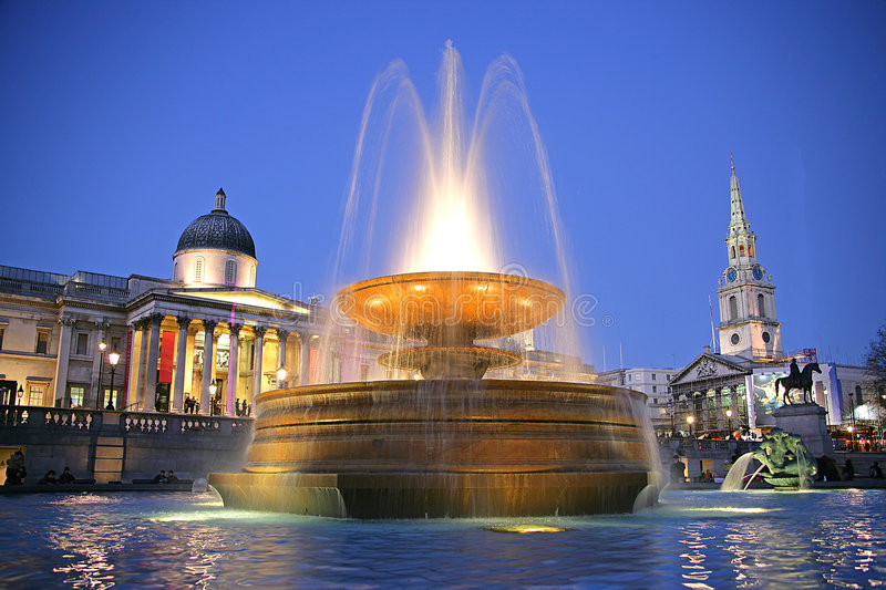 Trafalgar Square at Night 1 stock images