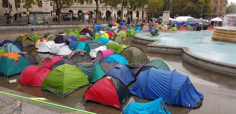 Trafalgar Square occupied by Extinction Rebellion stock image