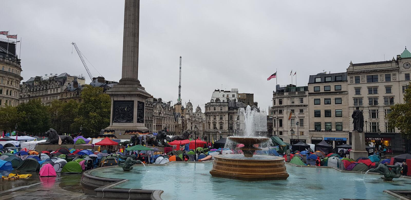 Trafalgar Square occupied by Extinction Rebellion royalty free stock photography