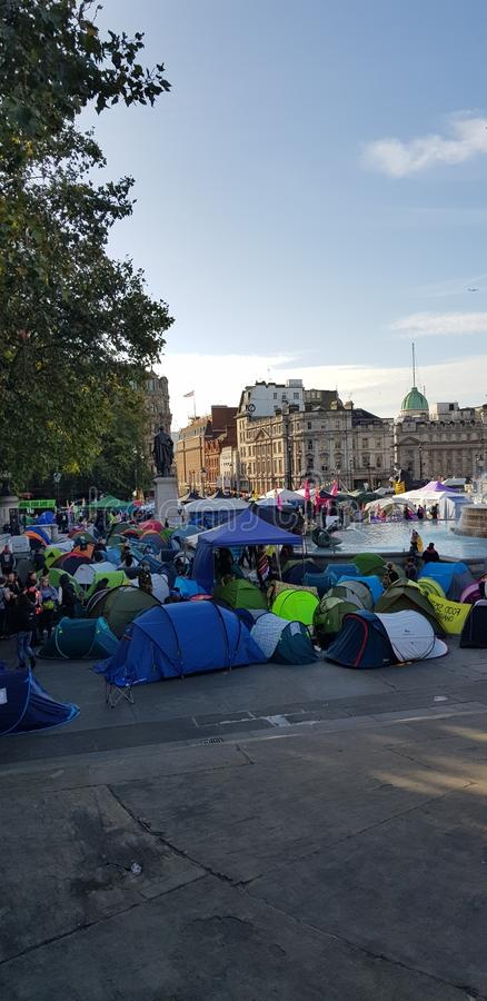 Trafalgar Square occupied by Extinction Rebellion stock photo