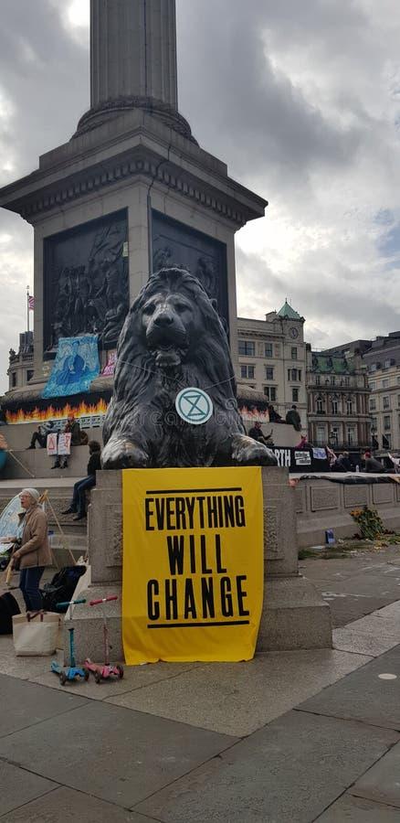 Trafalgar Square occupied by Extinction Rebellion stock photos