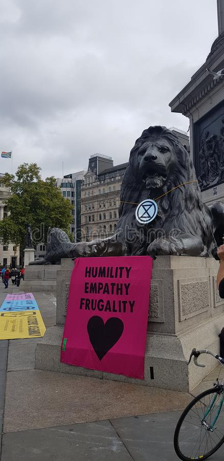 Trafalgar Square occupied by Extinction Rebellion royalty free stock image