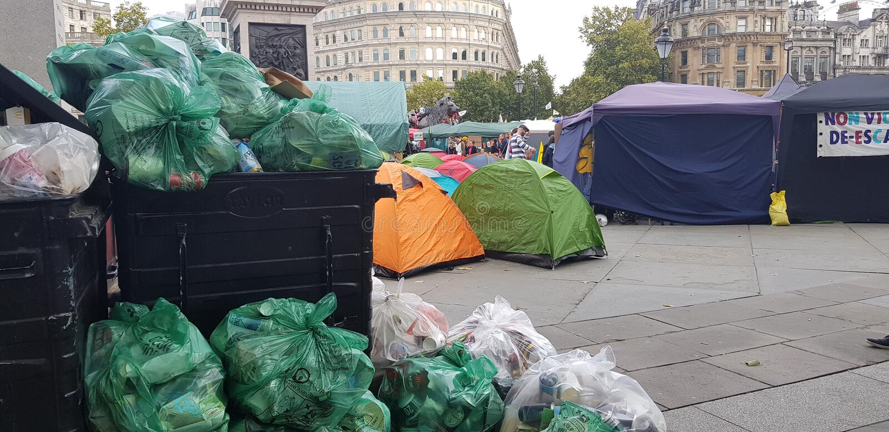 Trafalgar Square occupied by Extinction Rebellion royalty free stock photos