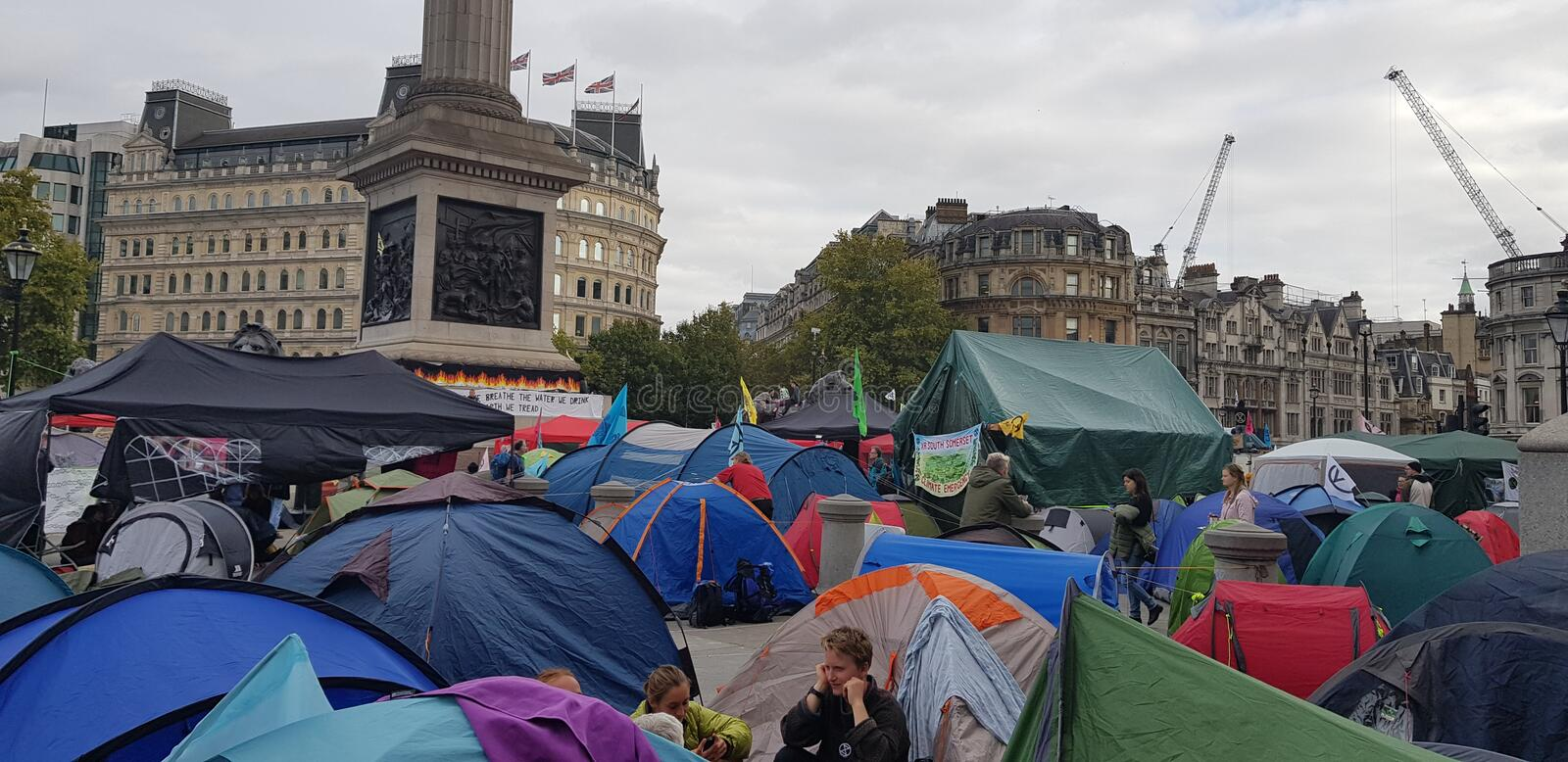 Trafalgar Square occupied by Extinction Rebellion royalty free stock images