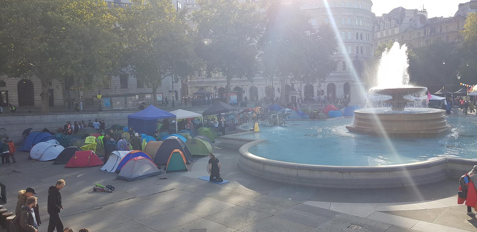 Trafalgar Square occupied by Extinction Rebellion stock images