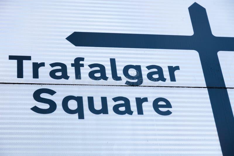 Trafalgar Square vägmärke arkivbild