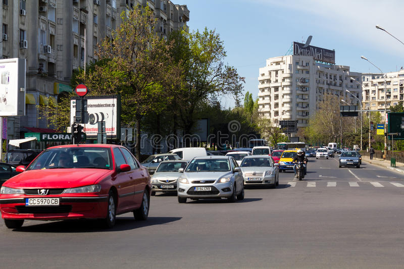 Traffic. On the boulevard Splaiul Unirii,near the center of Bucharest,Romania stock images
