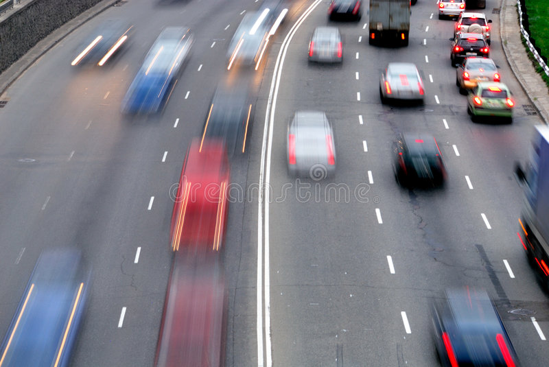 Traffic. With motion blur (long exposure shot stock photo