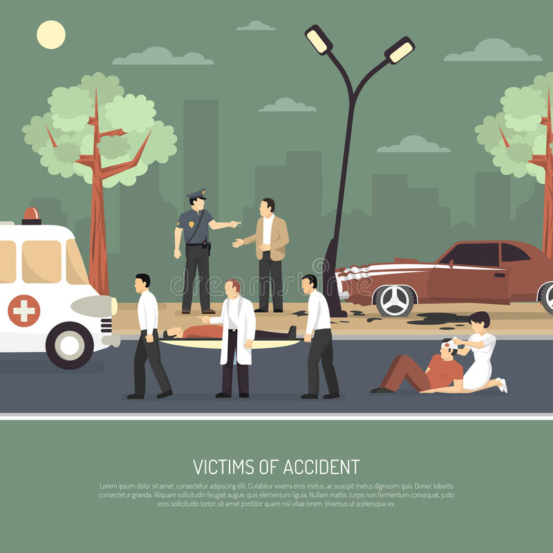 Traffic Accident First Aid Flat Poster vector illustration