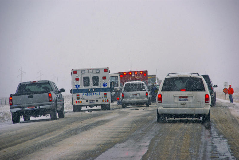 Traffic accident, on icy road stock photography
