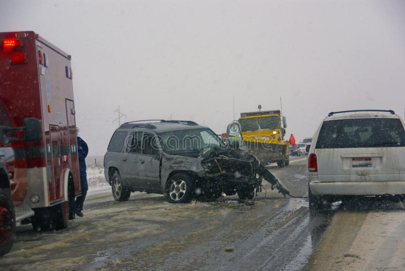 Traffic accident, on icy road stock images