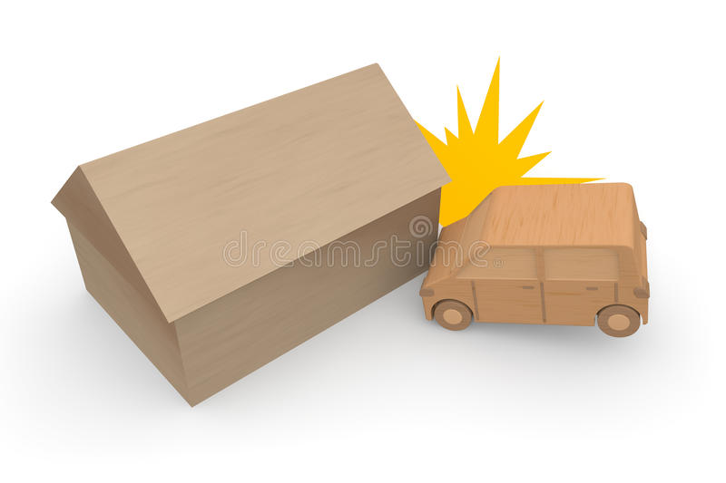 Traffic accident resulting in property damage. Cause an accident with dangerous driving. Hit from the front. Be upset. Panic. Operation of the forward royalty free illustration