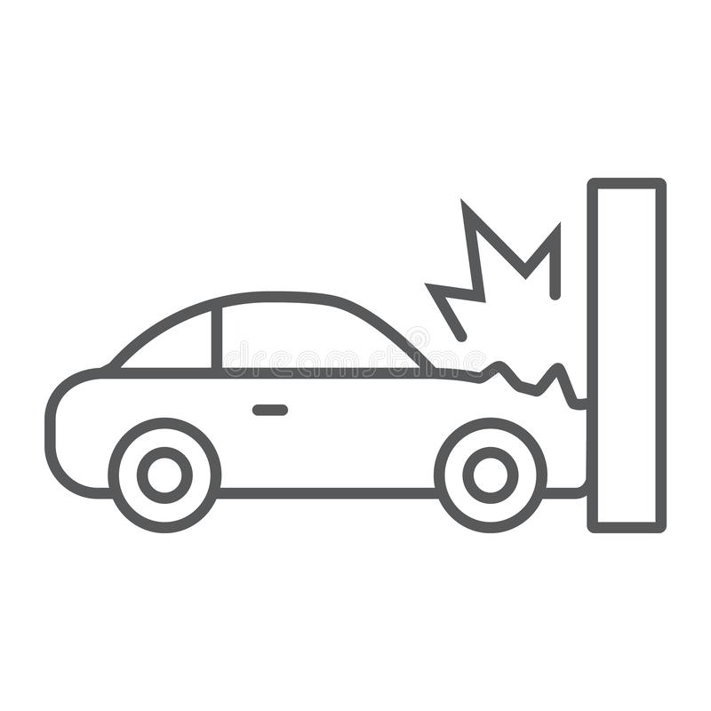 Traffic accident thin line icon, disaster and auto, car crash sign, vector graphics, a linear pattern on a white royalty free illustration