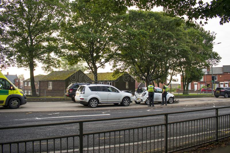 Traffic Accident, A633 Warren Vale, Rawmarsh, Rotherham, South Yorkshire, 7:45am 10th September 2019. Traffic Accident on the A633 Warren Vale, Rawmarsh stock photos