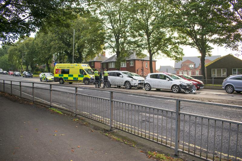 Traffic Accident, A633 Warren Vale, Rawmarsh, Rotherham, South Yorkshire, 7:45am 10th September 2019. Traffic Accident on the A633 Warren Vale, Rawmarsh stock photo