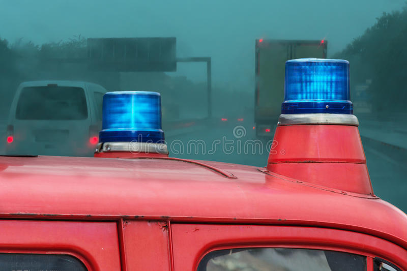 Police car on the highway royalty free stock photography