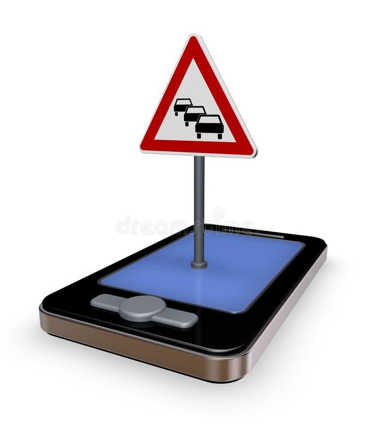 Traffic app. Smartphone with road sign traffic jam on white background - 3d illustration vector illustration