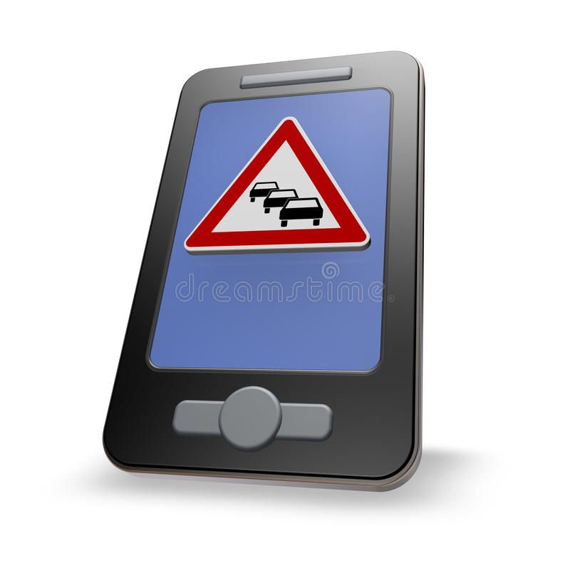 Traffic app. Smartphone with road sign traffic jam on white background - 3d illustration royalty free illustration