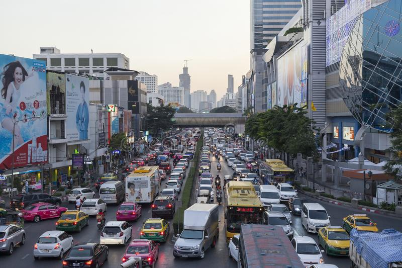 Traffic in Bangkok city stock photography