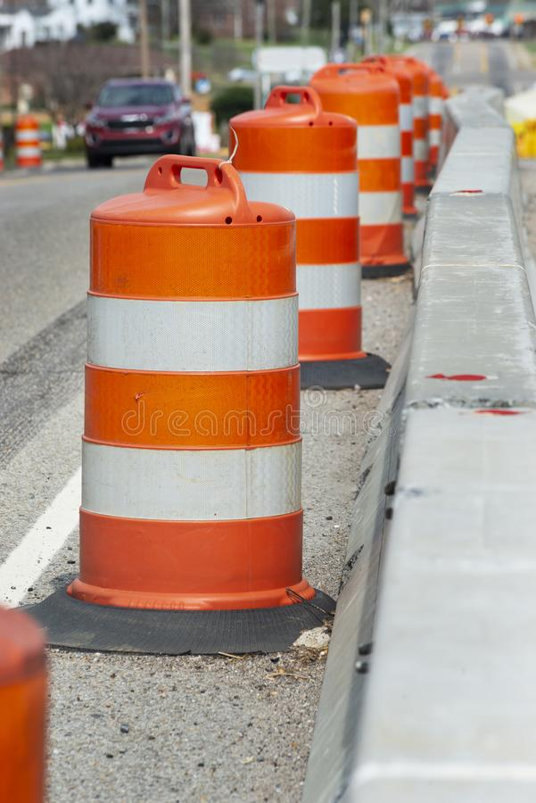 Traffic Barrels Shallow DOF Vertical royalty free stock image