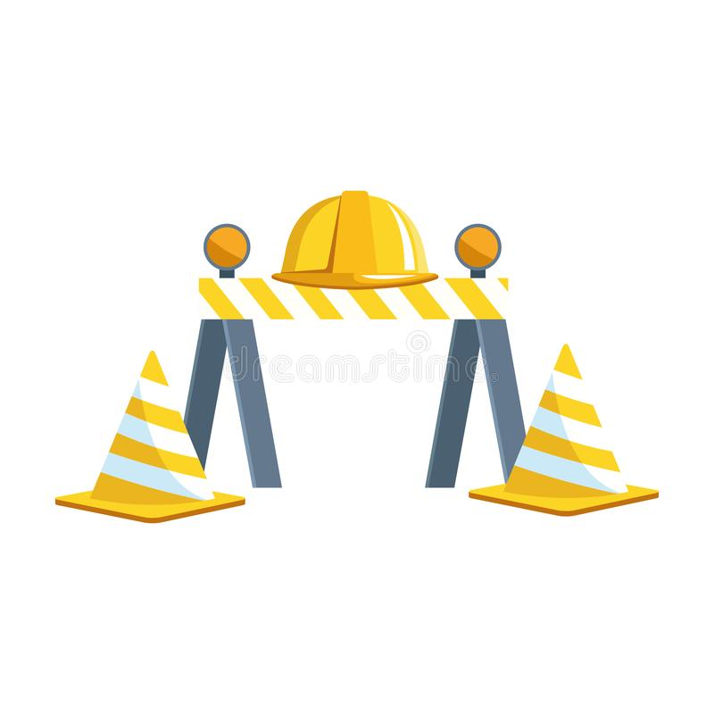 Traffic barrier and cones with safety helmet royalty free illustration