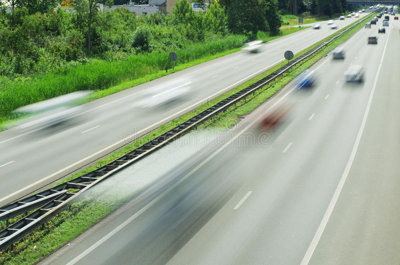 Traffic blurred by motion stock image