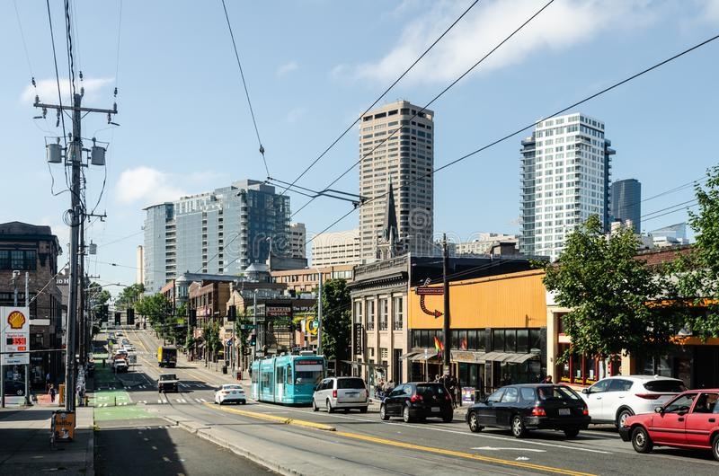 Traffic on Broadway street in Seattle royalty free stock photo